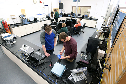 Students working in plastics engineering lab