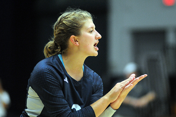 ​​​​​​​Jessica DuVal celebrates during a UW-Stout volleyball game.
