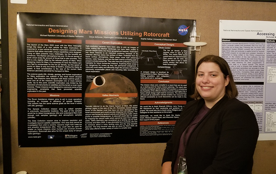 Sophie Gelhar researched drone flights on Mars with two other students during a NASA internship last summer in California.