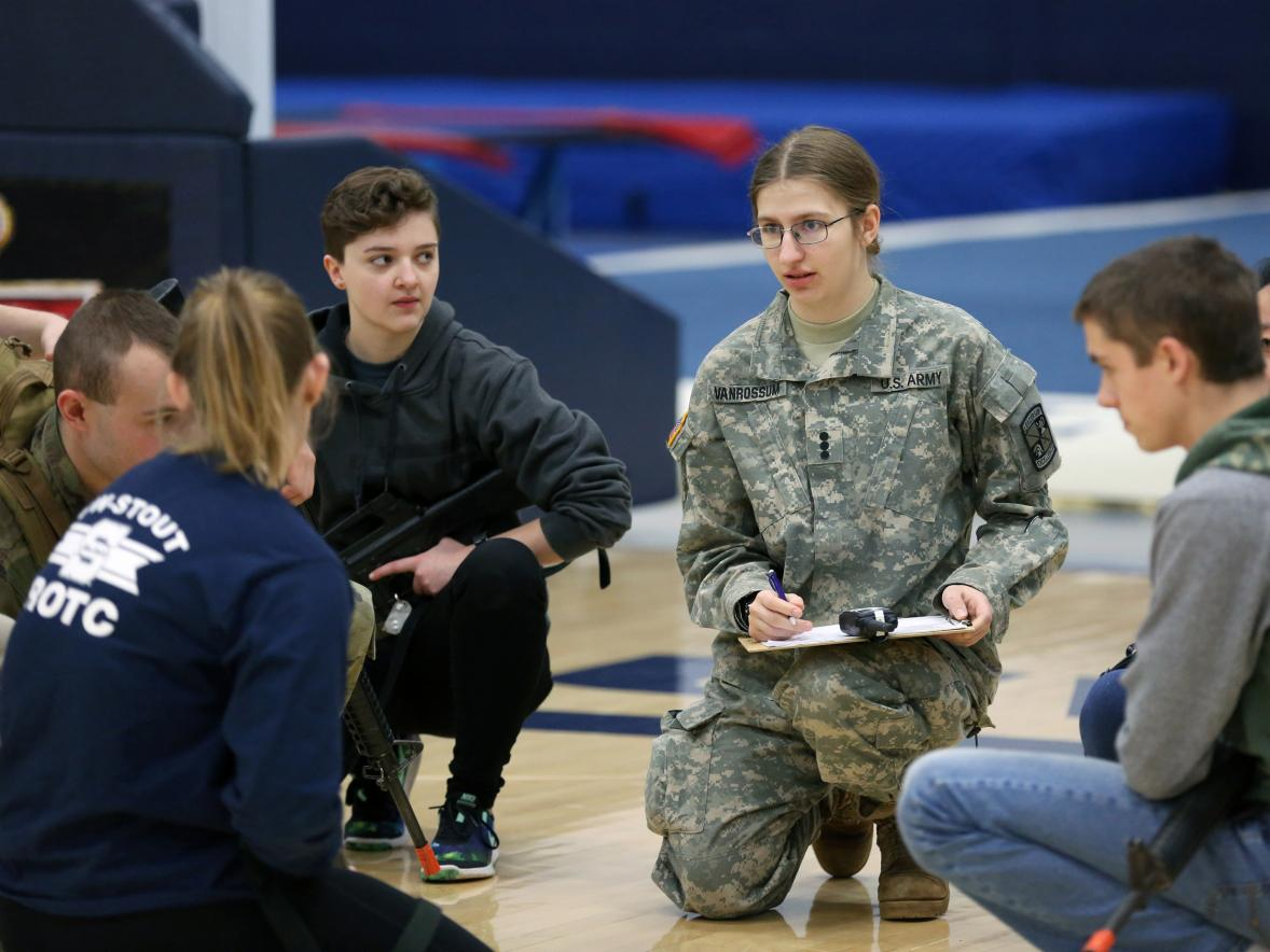 Cadets in the UW-Stout ROTC program take part in the Leadership Lab Jan. 25 on campus. / UW-Stout photo by Brett Roseman