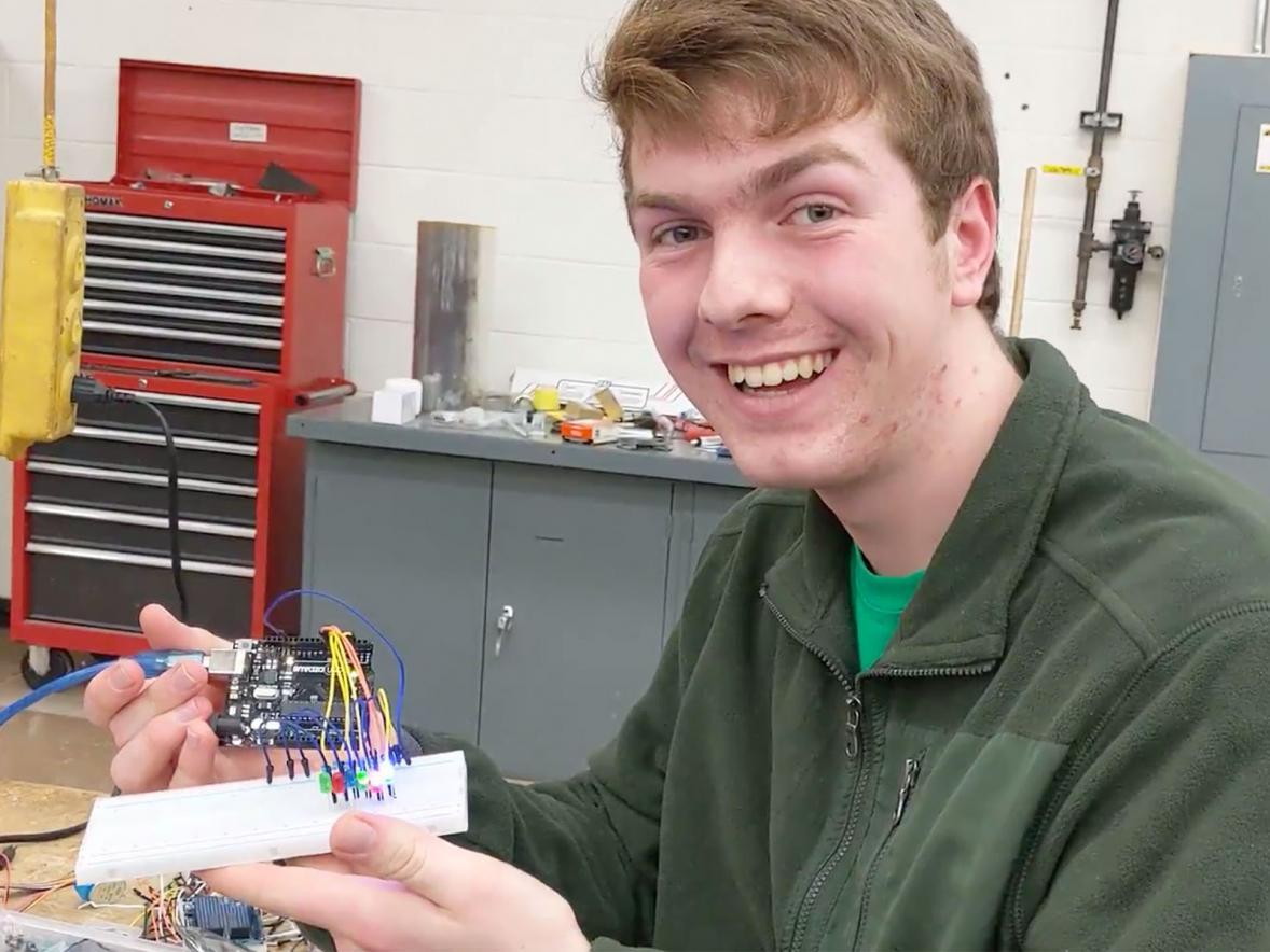 Nathan Thompson, first-year double-major in applied science and mechanical engineering, in the electronics lab.